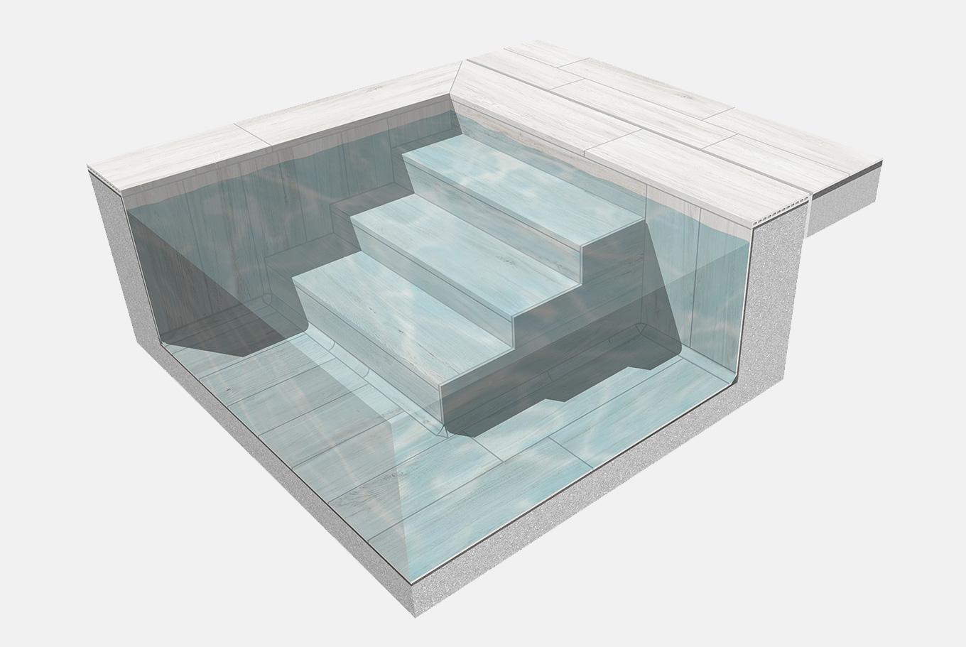 Swimming pool step coping solution